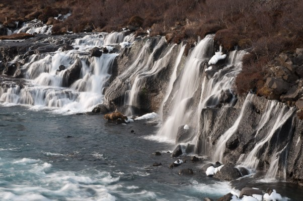 hraunfossar, where the falls fall out of the lava